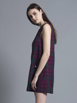 Purple Tartan Shift Dress View 2