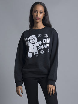 Oh Snap! Black Crewneck