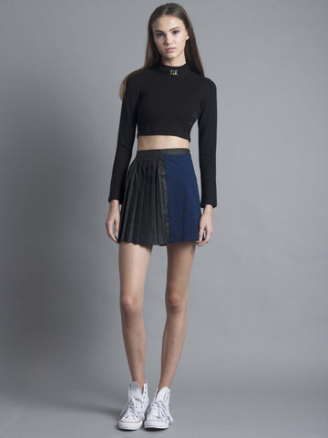Black Cut-out Buckle Crop Top