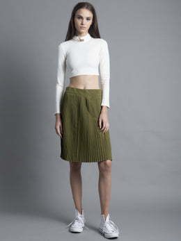 Green 3-Way Pleat Cropped Culotte View 2