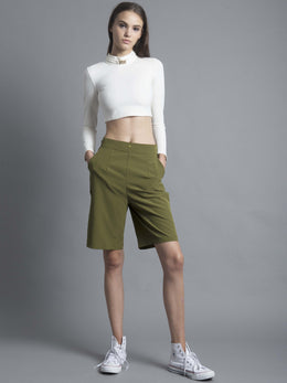 Green 3-Way Pleat Cropped Culotte