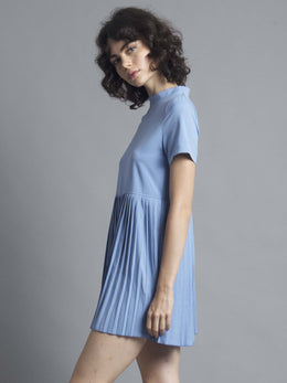 Blue High Neck Pleated Dress View 2