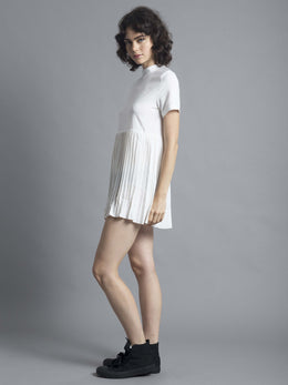 White High Neck Pleated Dress View 2