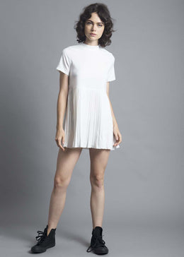 White High Neck Pleated Dress
