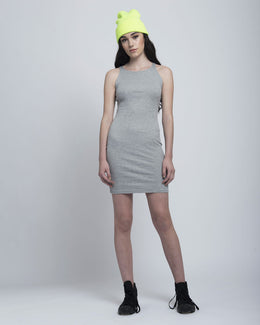 Thin Grey Ribbed Mini Dress