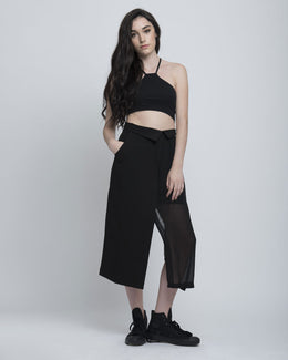 Black Asymmetrical Crop