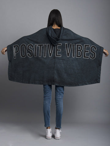 Black Positive Vibes Poncho