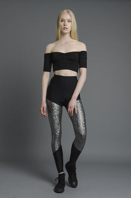 Silver Shattered Glass Leggings