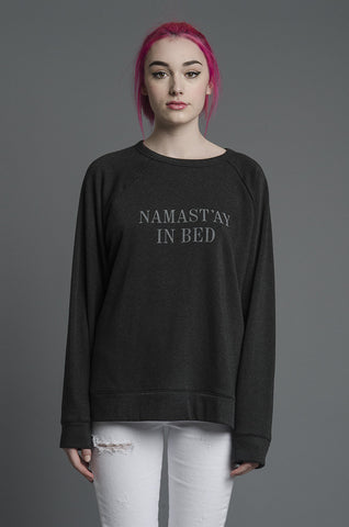 Namast'ay in Bed Smoosh Charcoal Pullover