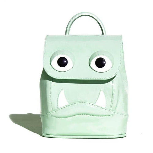Mini Drool Backpack in Mint Green Patent Leather