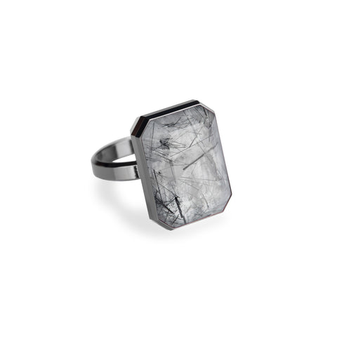 "RINGLY ""Dive Bar"" Tourmalated Quartz Bluetooth Ring"