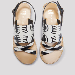 SALOME CREAM BLACK SANDALS View 2