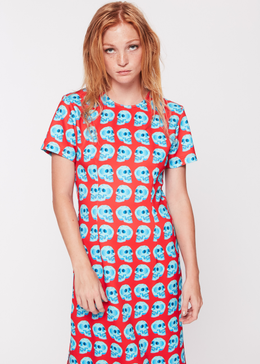 Red Skull T-Shirt Maxi Dress