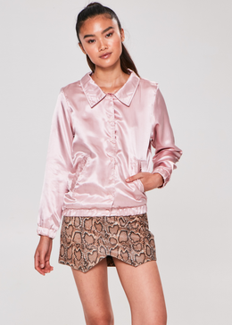 Sorry Not Sorry Satin Jacket (Pink) View 2