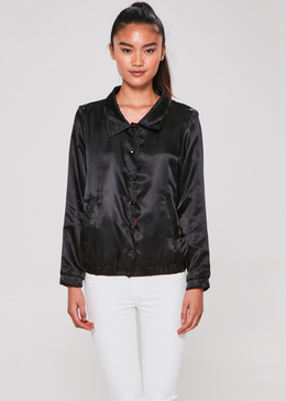Sorry Not Sorry Satin Jacket (Black) View 2