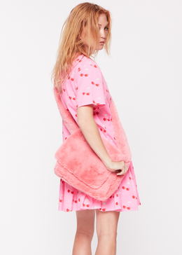 Pink Cherry Ruffle T-Shirt Dress View 2