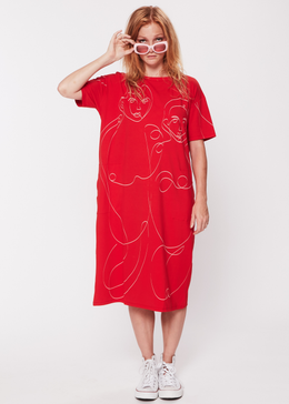Oneliner Dress in Red View 2