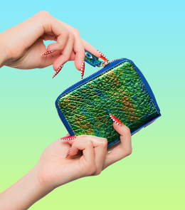 Fold Wallet in Iridescent Green View 2