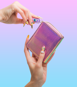 Fold Wallet in Holographic Pink View 2