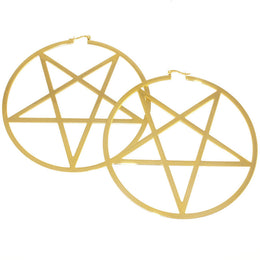 Pentagram Hoop Earrings (14K)