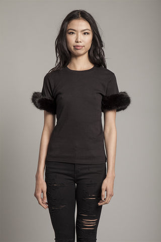 Black Furry Tee