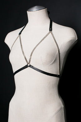 Harvey Chain Bra in Black and Silver