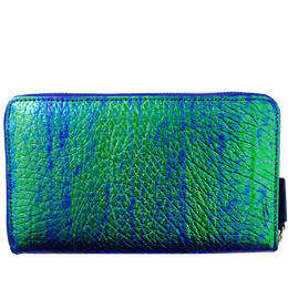 Long Wallet in Iridecent Green