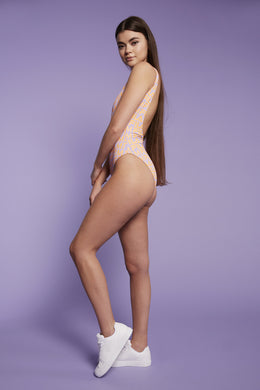 The Back Stroke Bathing Suit in Lavender/Orange View 2