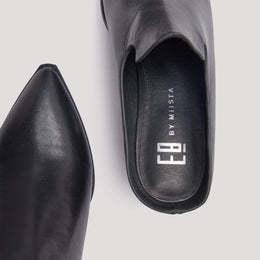 BETTSIE BLACK LEATHER MULES View 2