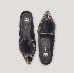 POPPY BLACK EMBROIDERED FLATS View 2