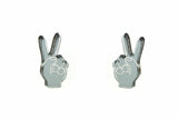 Peace Hand Stud Earrings