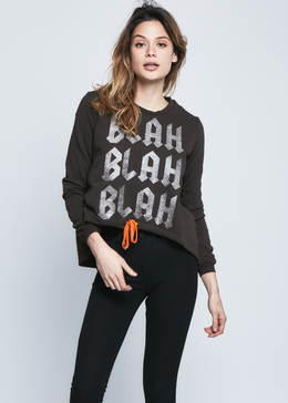 Blah Blah Blah Sweatshirt in Chocolate