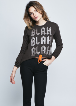 Blah Blah Blah Sweatshirt in Chocolate View 2
