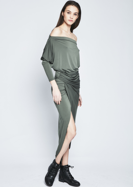 Letitia Dress in Khaki View 2
