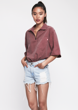 Going Halfsies Zip Up Shirt in Maroon View 2