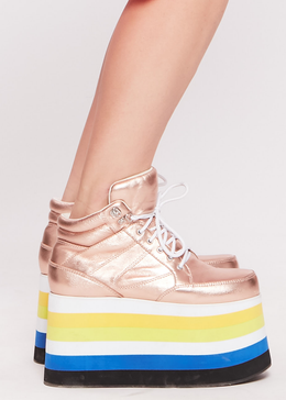 Dema Rainbow Platform Sneaker in Rose Gold View 2