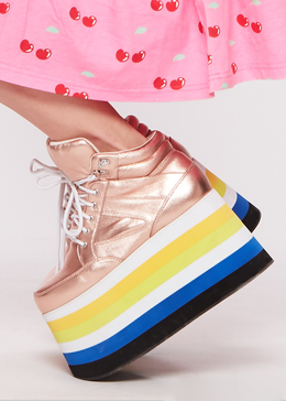 Dema Rainbow Platform Sneaker in Rose Gold