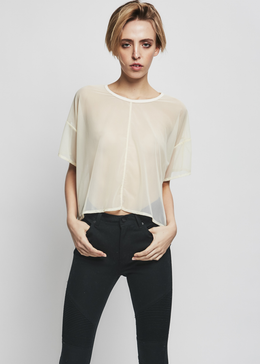 cropped tee mesh / natural