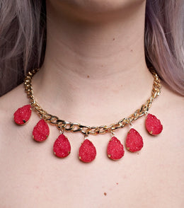 Pink Druzy Curb Chain Necklace View 2