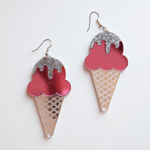 Pink Ice Cream Earrings