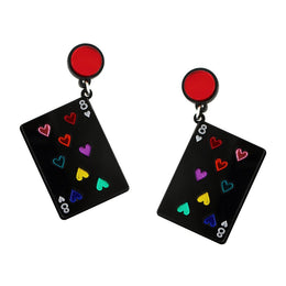 Play Your Cards Right Earrings in Black