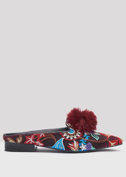 POPPY BORDEAUX EMBROIDERED FLATS