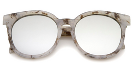 Oversize Marble Print Mirror Lens Round Sunglasses