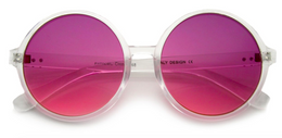 Disco Transparent Color Gradient Lens Round Sunglasses in Purple/Pink