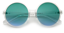Disco Transparent Color Gradient Lens Round Sunglasses in Green/Blue