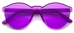 Rimless Monoblock Cut PC Color Lens Sunglasses in Purple