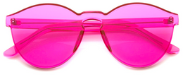 Rimless Monoblock Cut PC Color Lens Sunglasses in Pink