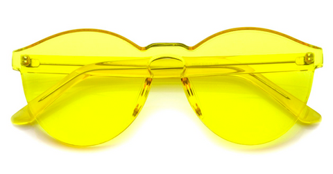 Rimless Monoblock Cut PC Color Lens Sunglasses in Yellow