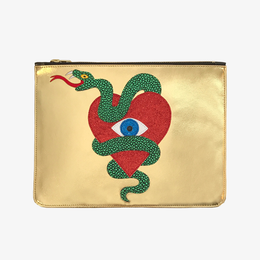 Serpent Heart Clutch in Gold