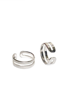 love double knuckle ring silver